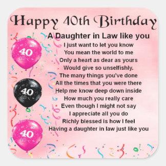 Daughter in Law Poem  -  40th Birthday Sticker