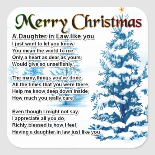 Daughter in Law Poem - Christmas Design Square Sticker