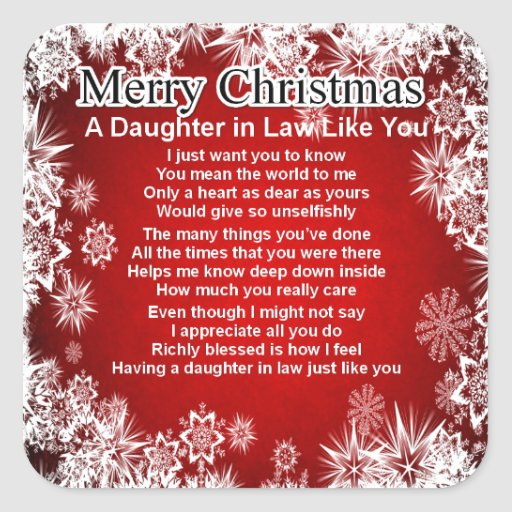 Daughter in Law Poem - Christmas Design Square Stickers