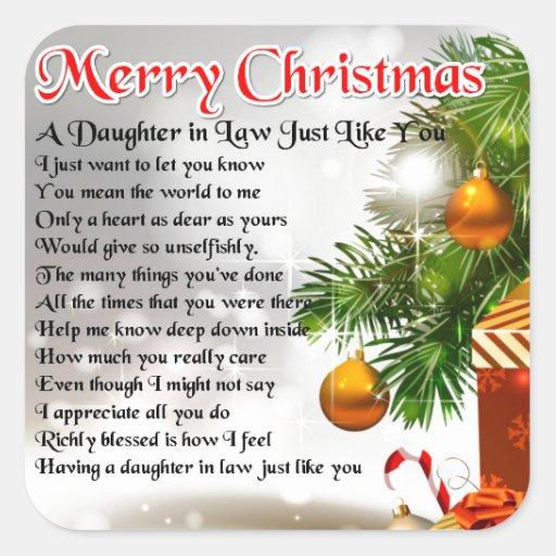 Daughter in Law Poem - Christmas Design Sticker