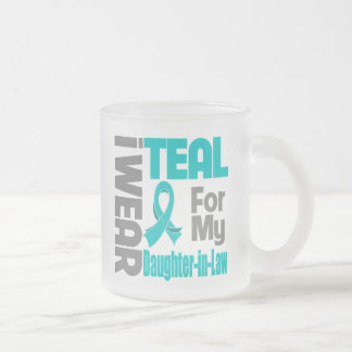 Daughter-in-Law - Teal Ribbon Ovarian Cancer Suppo Frosted Glass Mug