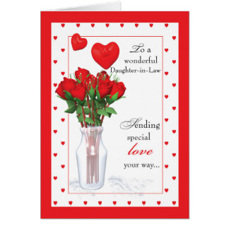 daughter in law valentines day red roses hearts card