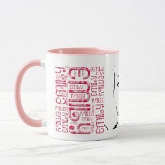 Daughter Name Emily Pink Typography Mug