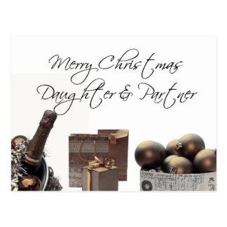 Daughter & Partner Christmas Card Post Card