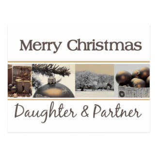 Daughter & Partner Merry Christmas card Postcard