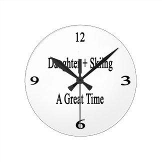 Daughter Plus Skiing Equals A Great Time. Wallclocks