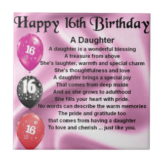 Daughter Poem  16th Birthday Tiles