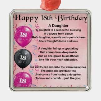 Daughter Poem - 18th Birthday Metal Ornament