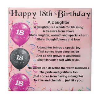 Daughter Poem - 18th Birthday Small Square Tile