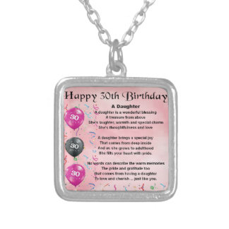 Daughter Poem  30th Birthday Silver Plated Necklace