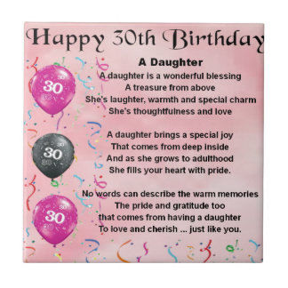 Daughter Poem  30th Birthday Small Square Tile