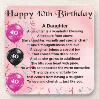 Daughter Poem  40th Birthday Drink Coaster