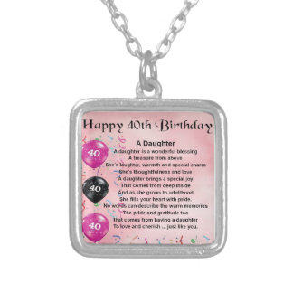 Daughter Poem  40th Birthday Silver Plated Necklace