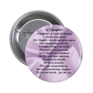 Daughter Poem - Lilac Silk 6 Cm Round Badge