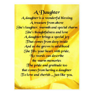 Daughter Poem - Yellow Silk Postcard