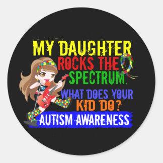 Daughter Rocks The Spectrum Autism Round Sticker