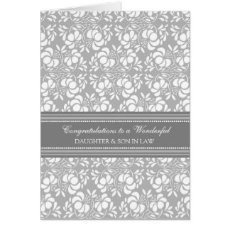 Daughter & Son In Law Wedding Congratulations Grey Greeting Card