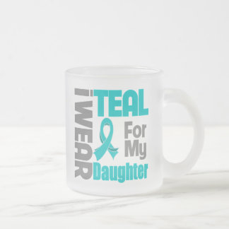 Daughter - Teal Ribbon Ovarian Cancer Support Frosted Glass Mug