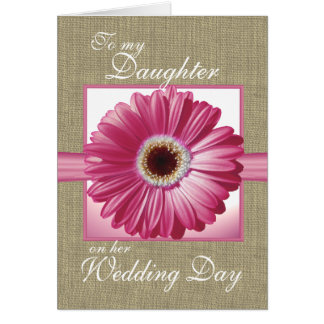 Daughter Wedding Day Pink Gerbera Greeting Card