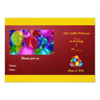 Daughter's 1st Birthday Invitation Card
