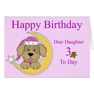 Daughters 3rd Birthday Card