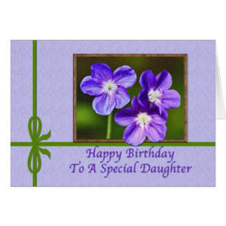 Daughter's Birthday Card with Purple Violas