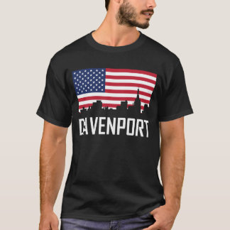Davenport Iowa Skyline American Flag T-Shirt