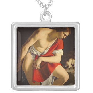 David contemplating the head of Goliath Silver Plated Necklace