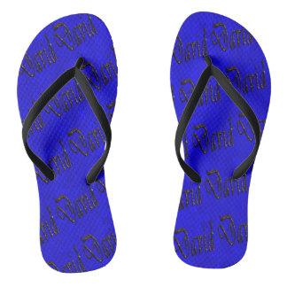 David Name Logo On Blue Mosaic, Thongs