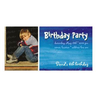 David s Birthday Party Photo Invitation Customized Photo Card