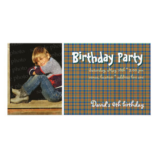 David's Birthday Party Photo | Scottish plaid Picture Card