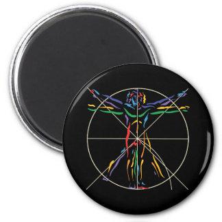 DaVinci Anatomy Man in Chakra Colors 6 Cm Round Magnet