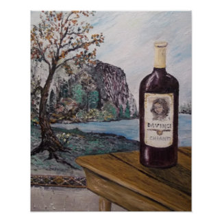 DaVinci- table,tapestry,bottle of wine-so fine Poster