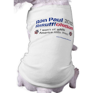 Dawgz 4 Ron Paul Dog T-shirt: America Rolls Over Sleeveless Dog Shirt