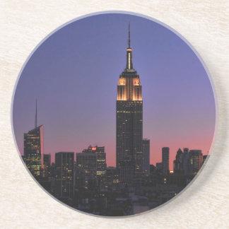 Dawn: Empire State Building still lit up Pink 03 Sandstone Coaster