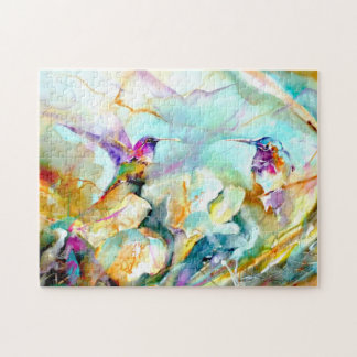 """Dawn Greeting"" Hummingbird Print Jigsaw Puzzle"