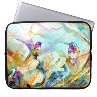 """Dawn Greeting"" Hummingbird Print on Laptop Sleeve"