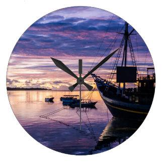Dawn in Micronesia Large Clock