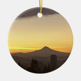 Dawn sky over Portland and Mt. Hood, Oregon Round Ceramic Decoration