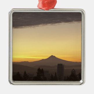 Dawn sky over Portland and Mt. Hood, Oregon Silver-Colored Square Decoration