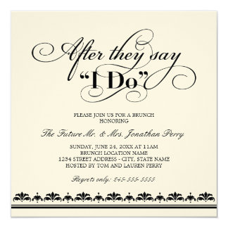 "Day After Wedding Brunch Invitation | Wedding Vows 5.25"" Square Invitation Card"