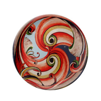 Day and Night Ribbon Circle Porcelain Plate