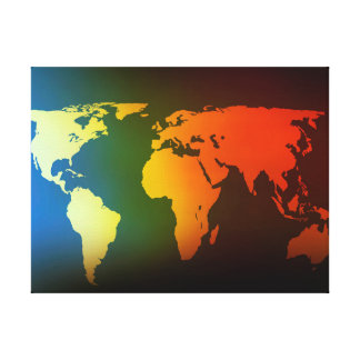 Day and night world map canvas prints