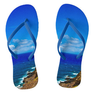 Day at the Beach Brilliant Blue Ocean Sky Clouds Thongs
