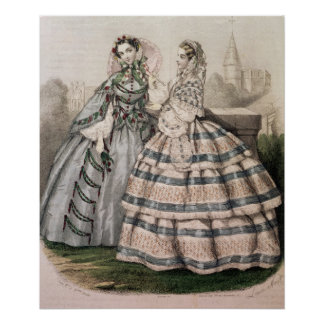 Day Dress for 1858, engraved by Barreau Poster