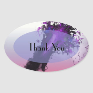 Day Ending Abstract Design Oval Sticker