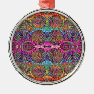 Day-Glo Pattern Drench Silver-Colored Round Decoration