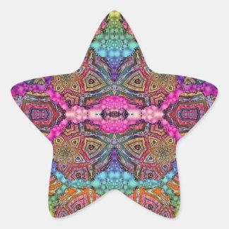 Day-Glo Pattern Drench Star Sticker