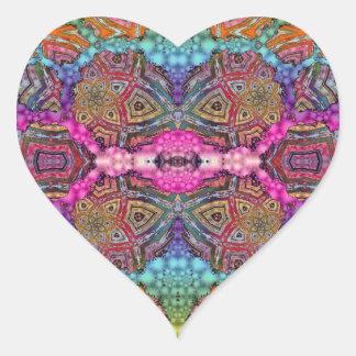 Day-Glo Pattern Drench Heart Sticker