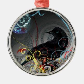 Day Glo Raven Silver-Colored Round Decoration
